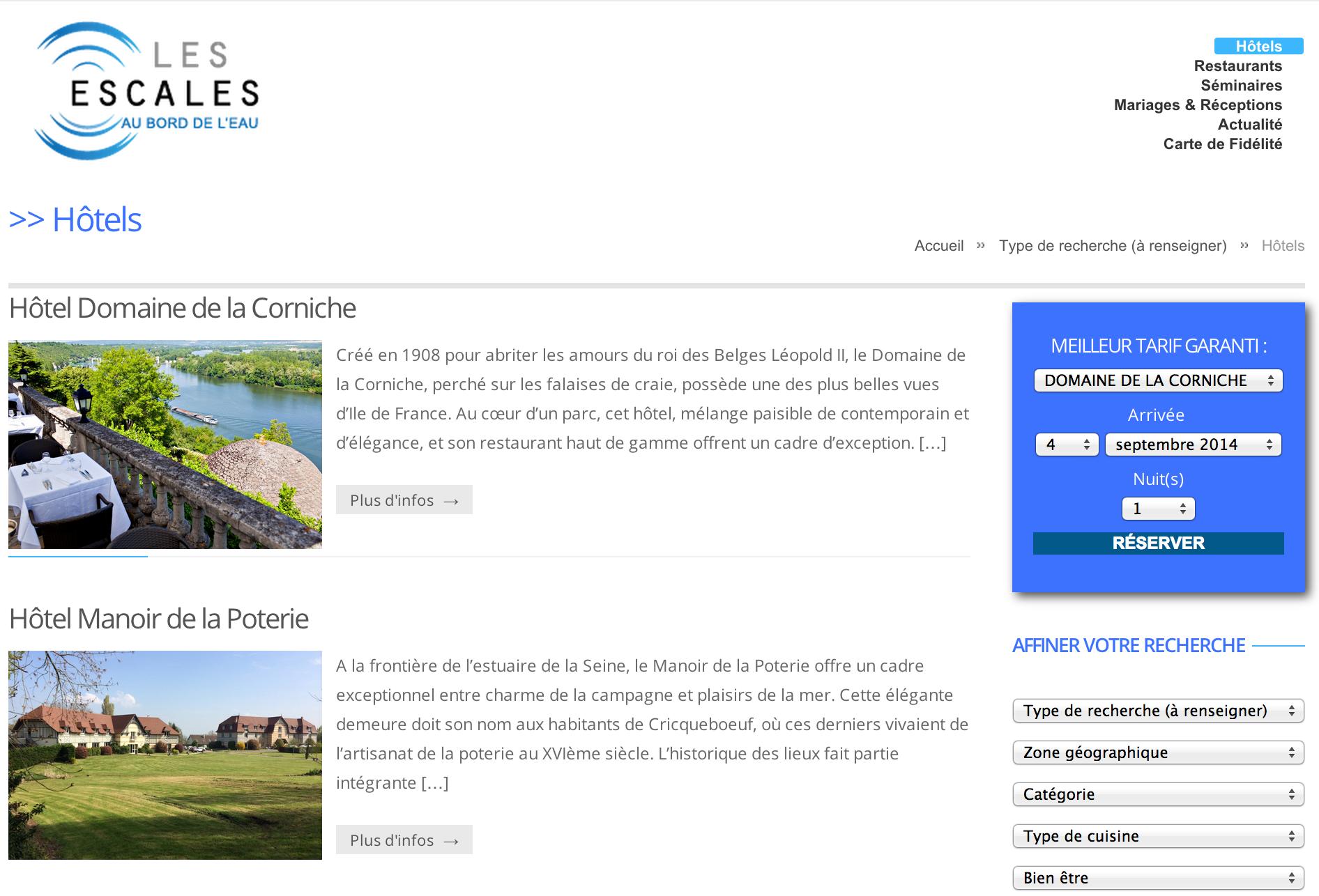 Exemple de développement de site portail hôtelier