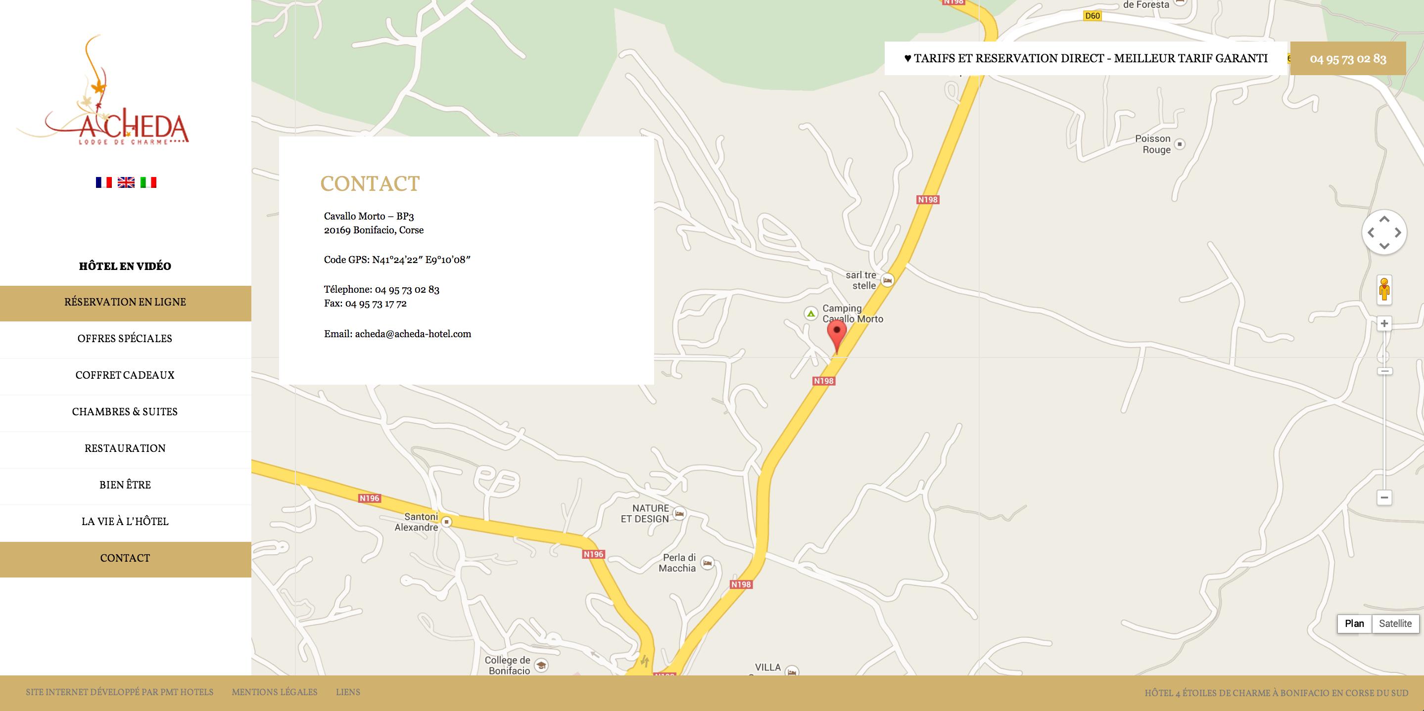 Webmaster hotel en corse - intégration de Google maps