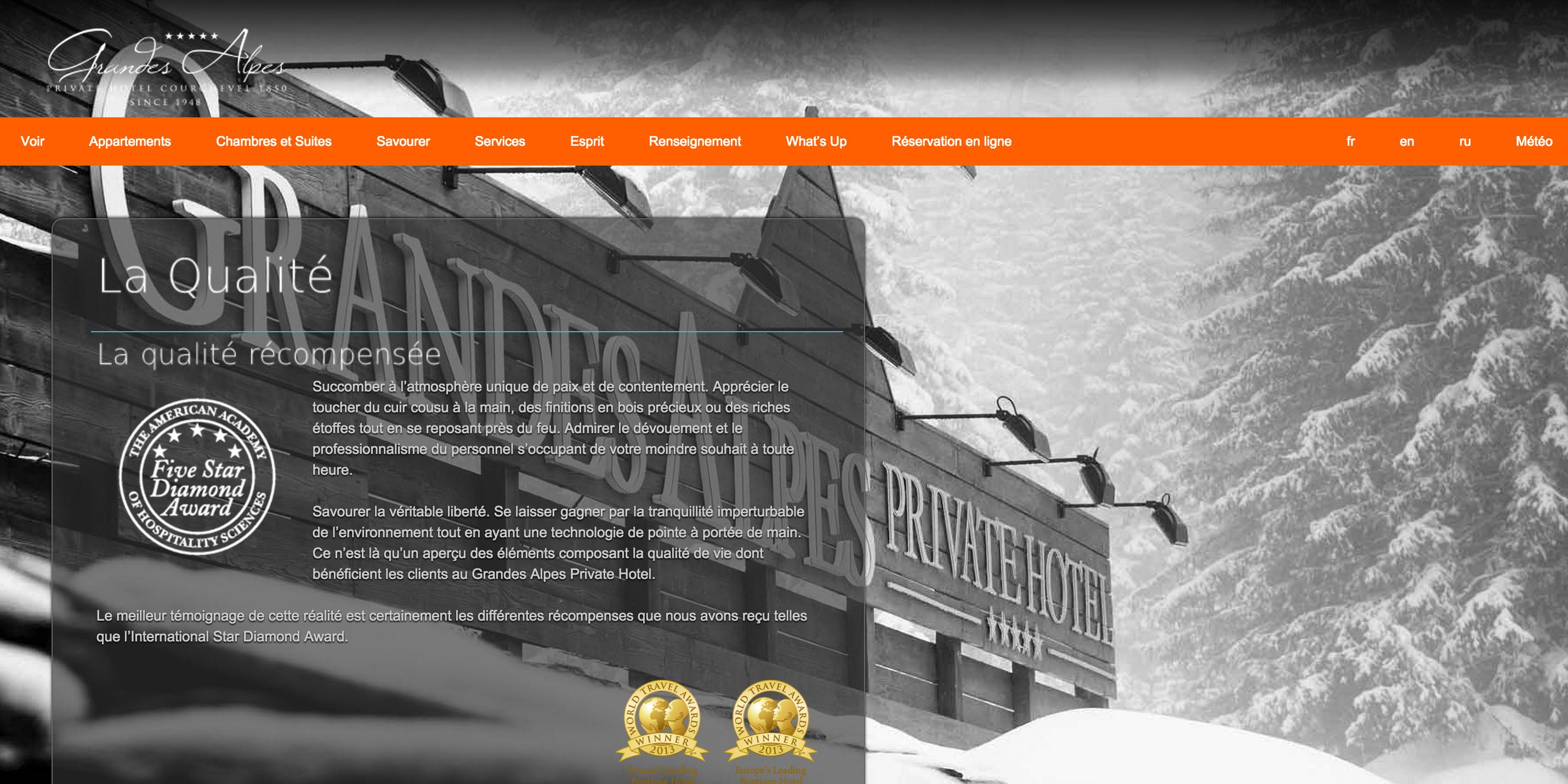 Exemple de développement web pour un hôtel 5 étoile à Courchevel