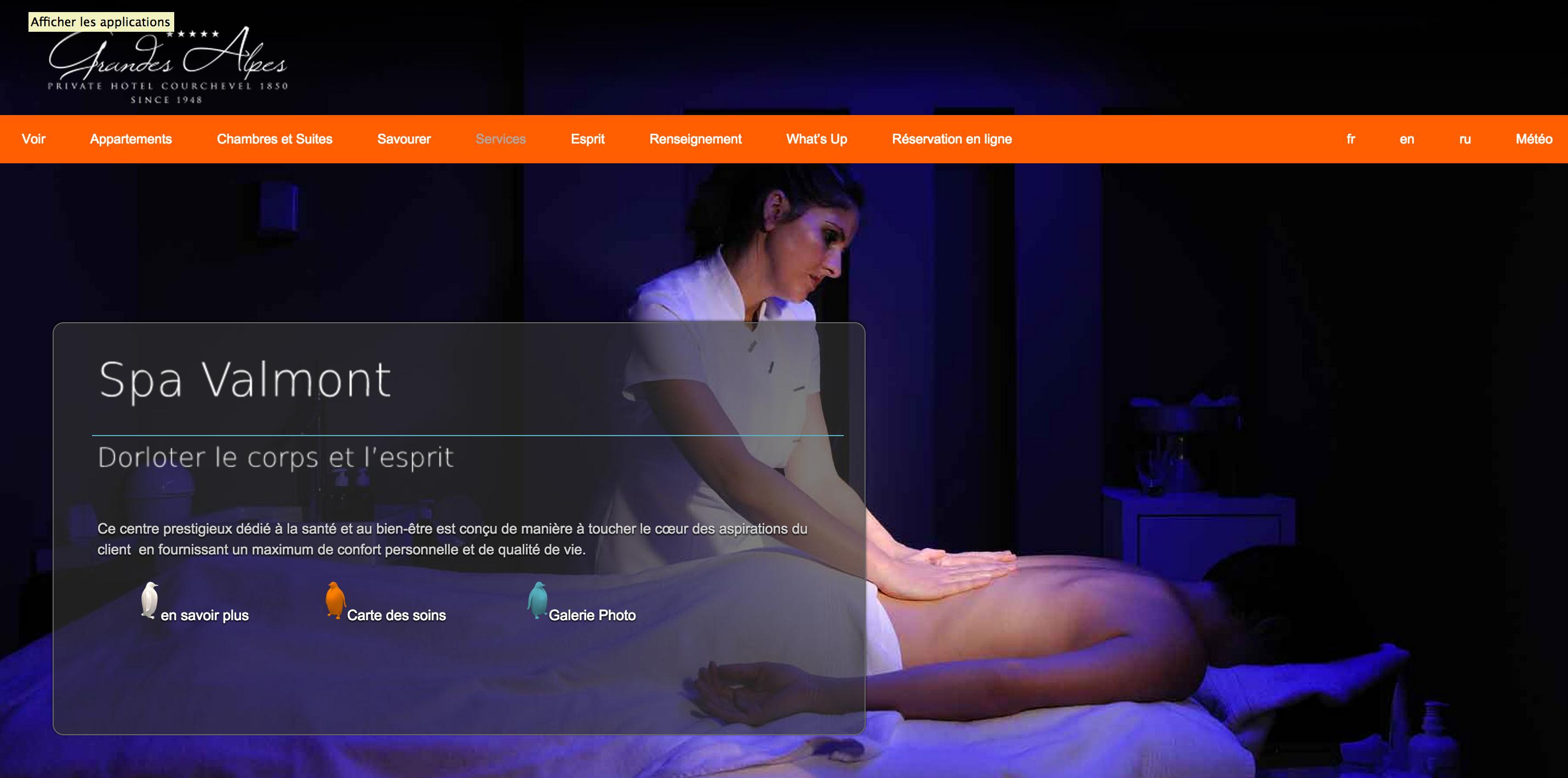 Exemple de développement web pour un site internet de spa