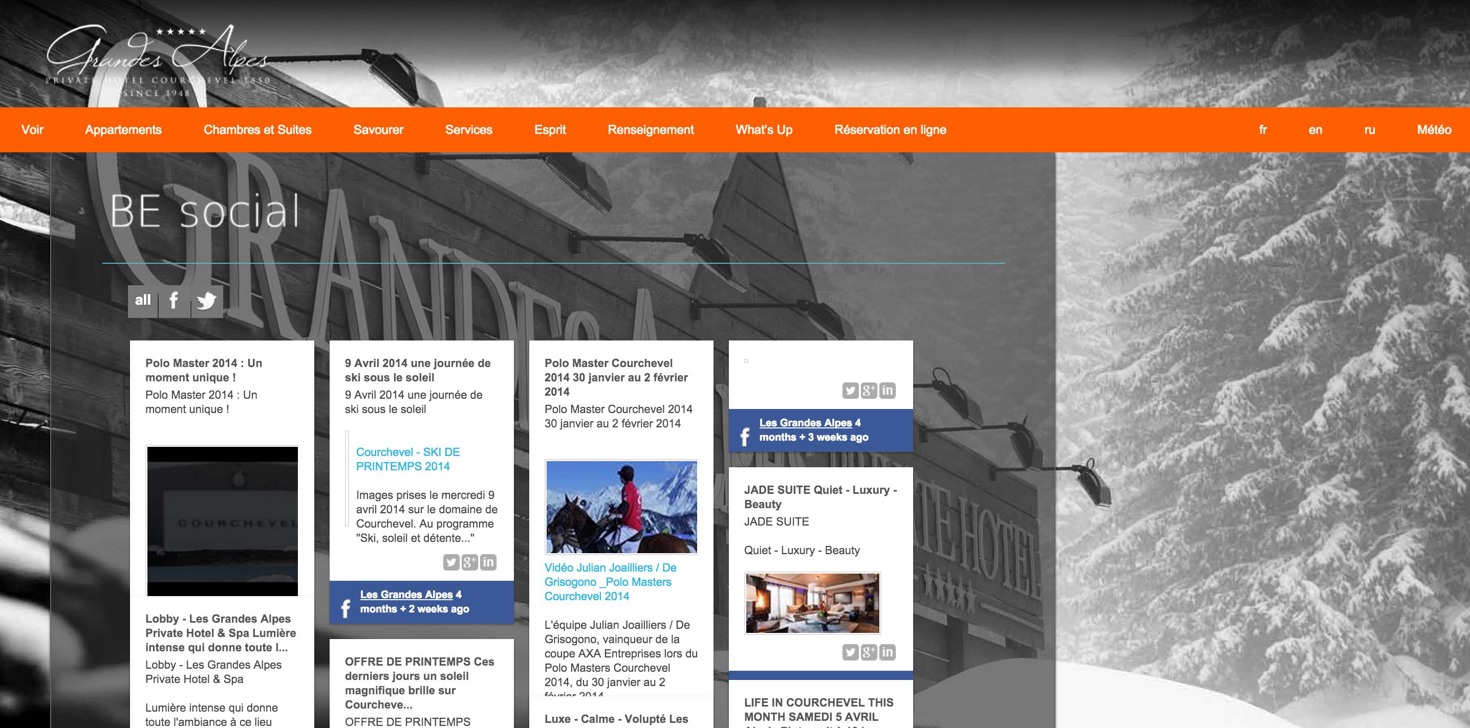 Exemple d'intégration des flux de différents réseaux sociaux dans une page de site d'hôtel