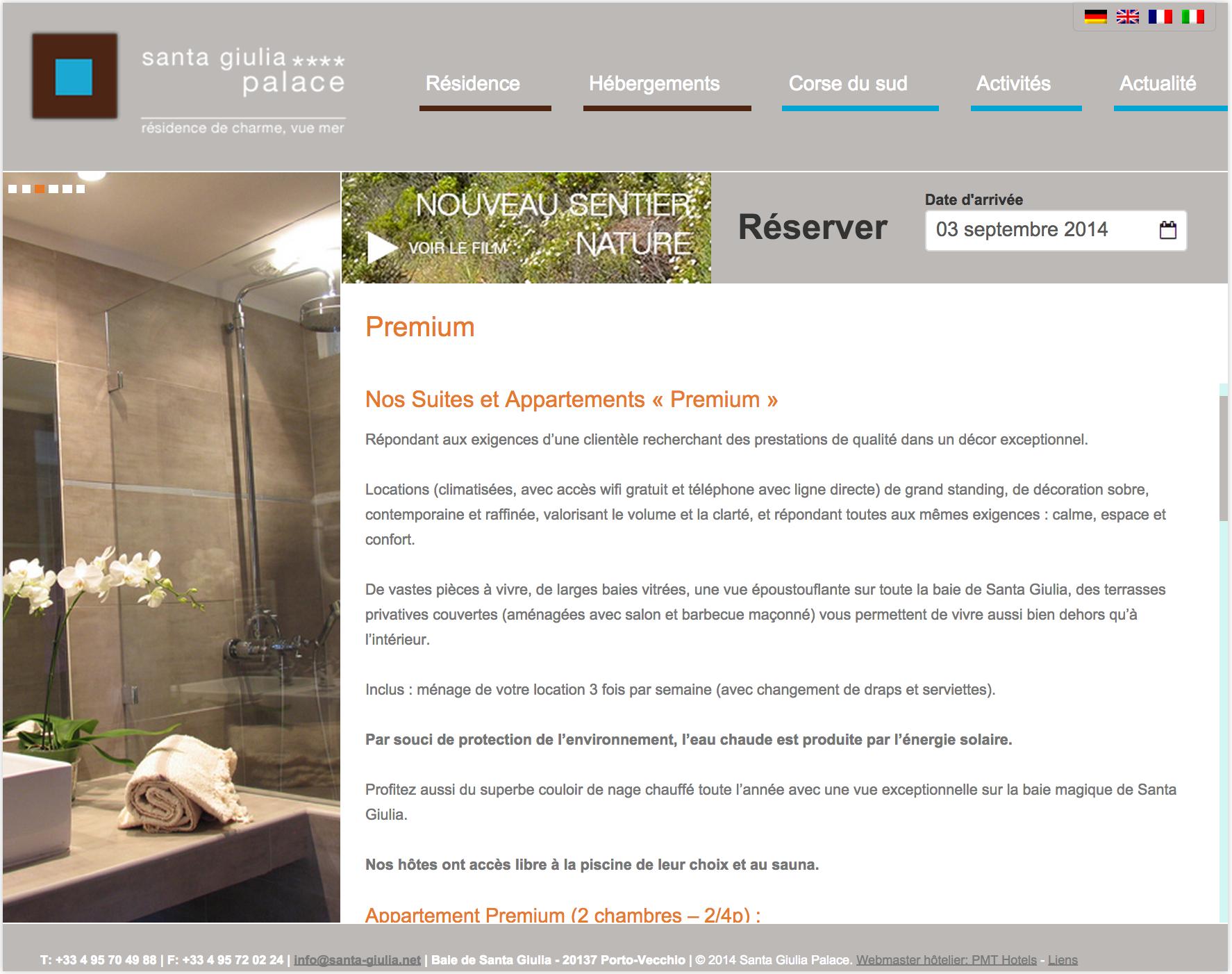 webmasterpour residence hôtelière - exemple en Corse