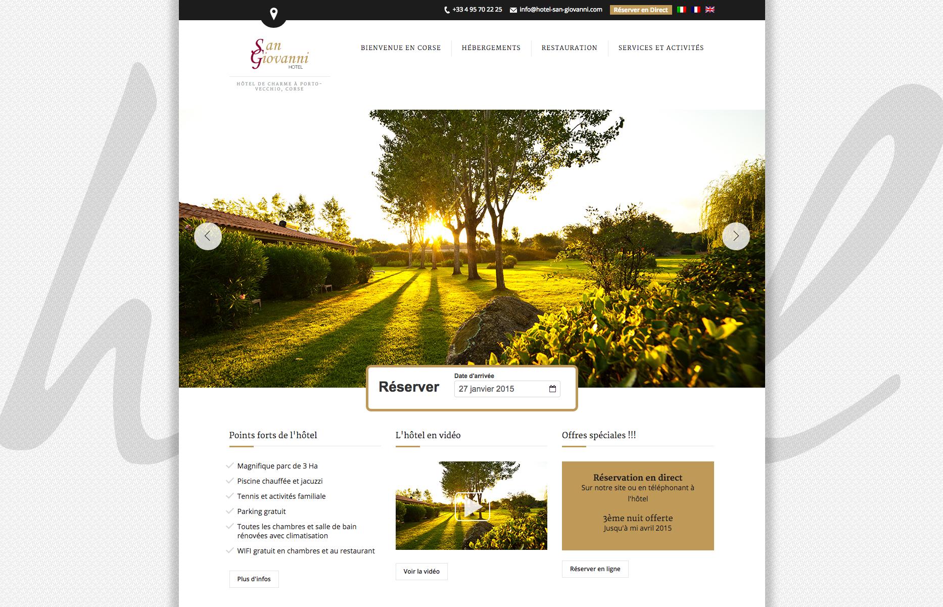 Nouveau site développé par PMT Hotels pour l'hôtel San Giovanni. PMT Hotels est un webmaster pour hôtels indépendants